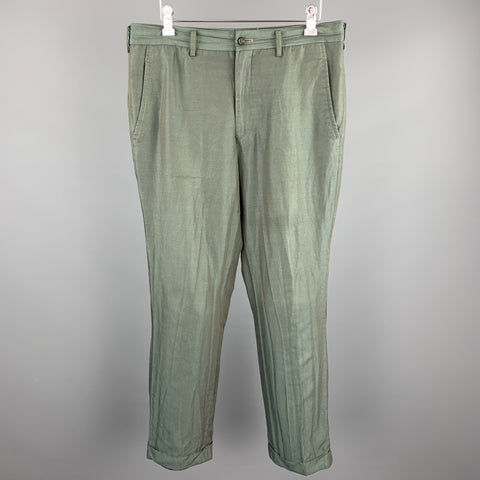 COMME des GARCONS HOMME PLUS Size M Green Two Toned Iridescent Zip Fly Casual Pants