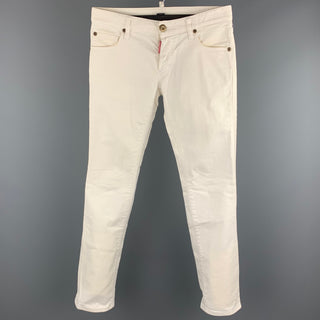 DSQUARED2 Size 30 White Cotton Jean Cut Casual Pants