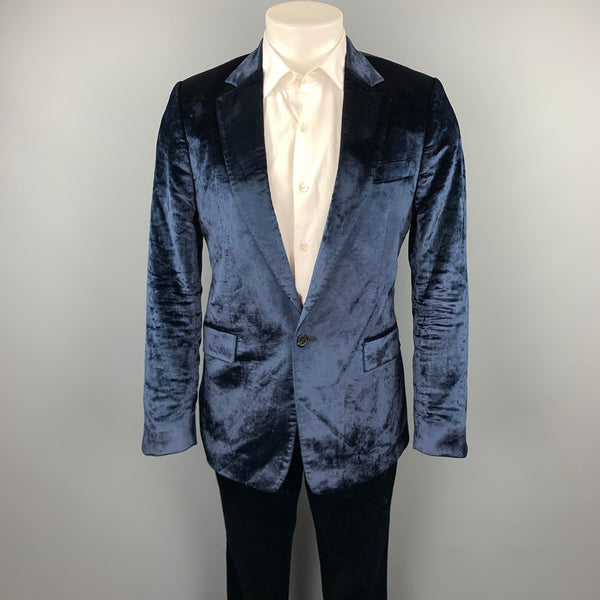 PAUL SMITH Size 38 Navy Velvet Notch Lapel Suit