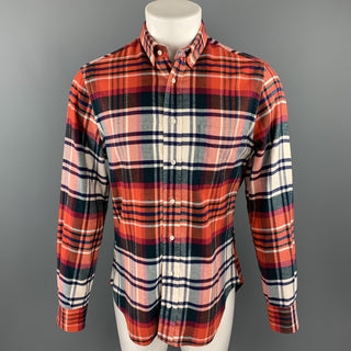 GITMAN VINTAGE Size M Red White Blue Plaid Brushed Cotton Long Sleeve Shirt