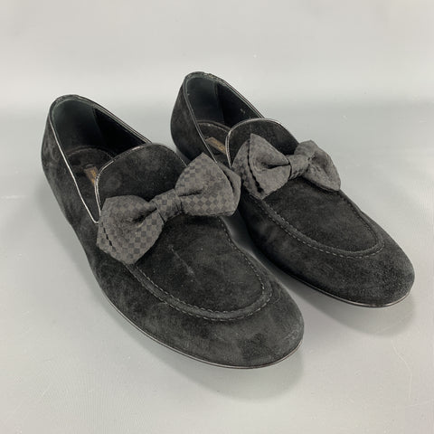 LOUIS VUITTON Size 9 Black Suede Slip On Bow Loafers