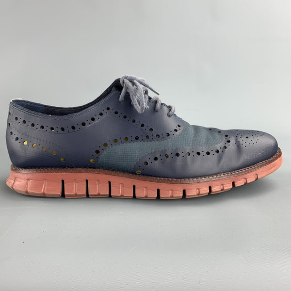 COLE HAAN Size 11 Navy Perforated Leather Wingtip Lace Up