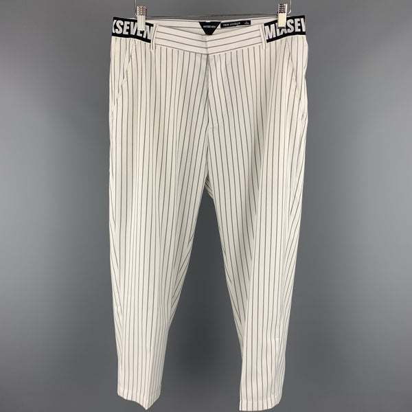 MIXSEVEN Size XL White & Grey Pinstripe Twill Casual Pants