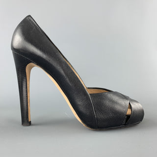 GIUSEPPE ZANOTTI Size 7.5 Black Leather Peep Toe Cutout Pumps