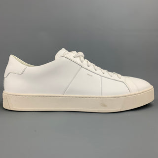SANTONI Size 12 White Leather Rubber Sole Lace Up Sneakers