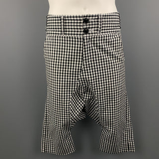 COMME des GARCONS GANRYU Size S Black & White Gingham Cotton Drop-Crotch Pants