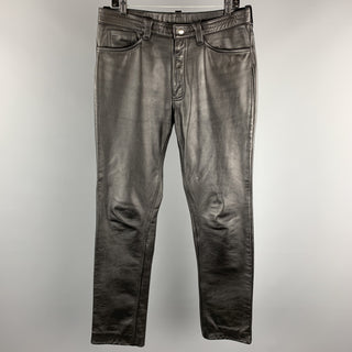 Vintage IMAGE LEATHER Size 33  Black Leather Button Fly Casual Pants