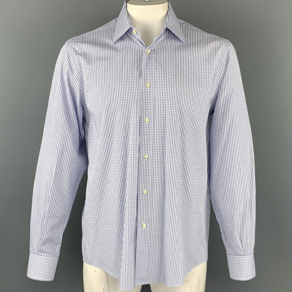 YVES SAINT LAURENT Size XL White & Navy Window Pane Cotton Long Sleeve Shirt