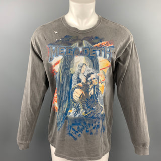 R13 Size XS Grey Rock Concert Megadeth Print Cotton Crew-Neck Long Sleeve T-shirt