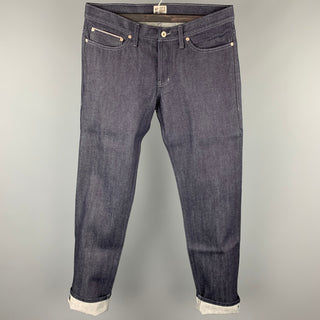 NAKED AND FAMOUS Size 34 Indigo Selvedge Denim Button Fly Jeans