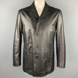 HUGO BOSS Size 40 Black Leather Notch Lapel Buttoned Jacket