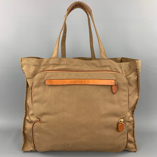 GHURKA Khaki Nylon Leather Trim Tote Handbag