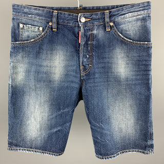 DSQUARED2 Size 34 Indigo Wash Cotton Button Fly Shorts