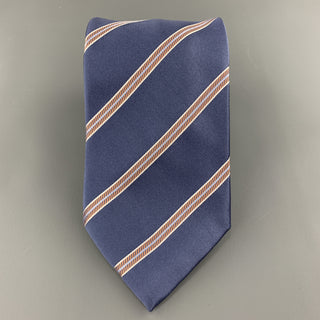 BRIONI Steel Blue & Orange Diagonal Striped Silk Tie