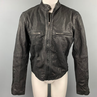 LEVI'S VINTAGE Size M Black Distressed Leather Motorcycle Jacket