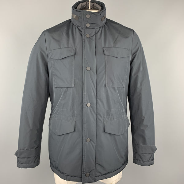 EREDI PISANO Size M Navy Winter Padded Patch Pocket Jacket