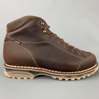 ZAMBERLAN Size 9 Brown Contrast Stitch Leather Lace Up Boots
