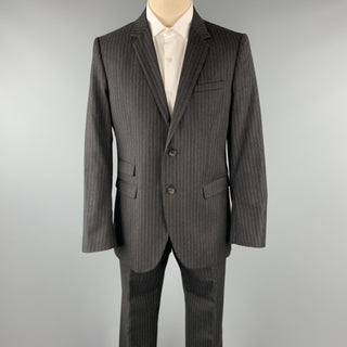 NEIL BARRETT Size 42 Regular Charcoal Stripe Wool Notch Lapel Suit