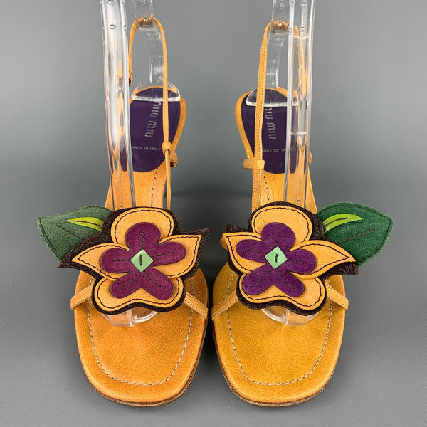 MIU MIU Size 8.5 Mustard Flower Applique Leather Slingback Sandals