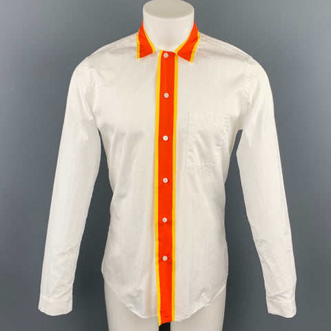 PRADA Size M White Cotton Button Up Long Sleeve Shirt