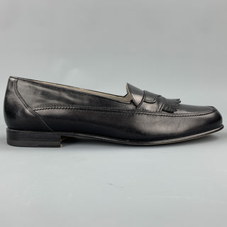 BALLY Size 8 Black Leather Eyelash Fringe Loafers
