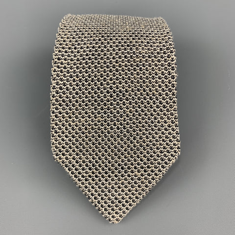 T.M. LEWIN Black & White Silk / Linen Woven Knit Tie