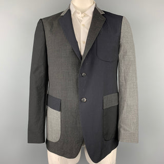WOOSTER + LARDINI Size 44 Black & Grey Color Block Wool Sport Coat