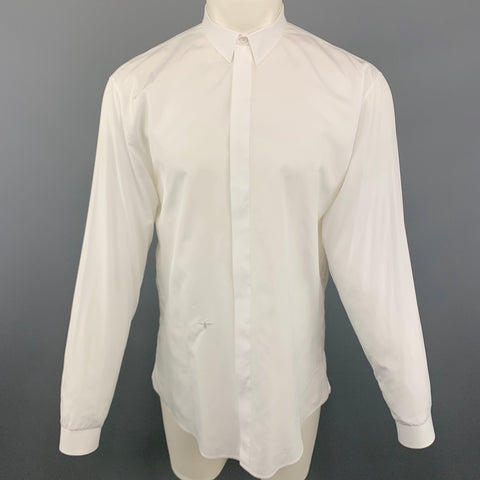 DIOR HOMME Bee Size L White Cotton Hidden Buttons Long Sleeve Shirt