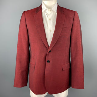 PS by PAUL SMITH Size 44 Burgundy Wool / Mohair Notch Lapel Sport Coat