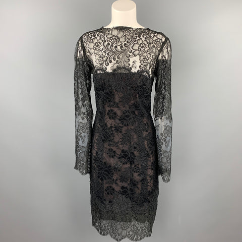 VINTAGE Size 10 Black Floral Lace Open Back Cocktail Dress