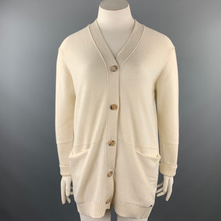 HERMES Size 10 Cream Knitted Cashmere Buttoned Cardigan