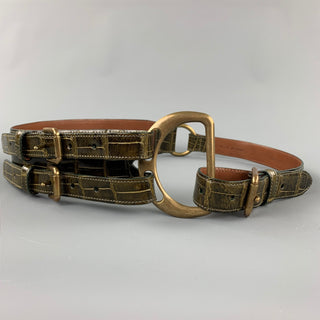RALPH LAUREN Collection 2006 Waist Size L Brown Alligator Double Buckle Belt