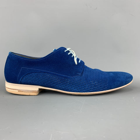 HUGO BOSS Size 9.5 Blue Perforated Suede Pointed Lace Up