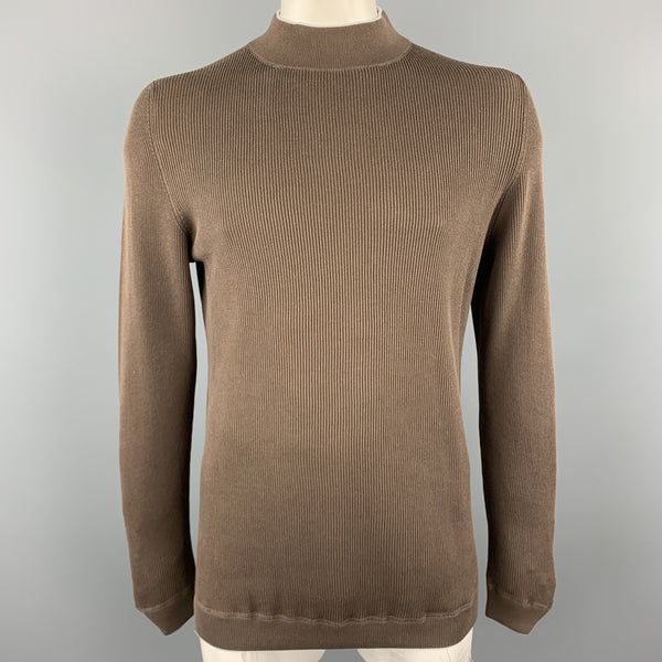 BRUNELLO CUCINELLI Size XL Brown Ribbed Knit Cotton High Mockj Neck Collar Pullover