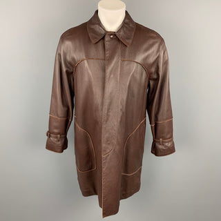 BOTTEGA VENETA Size 38 Brown Leather Hidden Snaps Coat