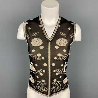 CHANEL Size 8 Black & Cream Knitted Floral Viscose V-Neck Vest