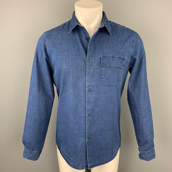 A.P.C. Size M Indigo Cotton / Polyester Button Up Long Sleeve Shirt