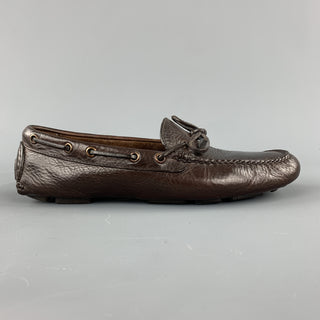 BROOKS BROTHERS Size 8.5 Brown Leather Bow Drivers Loafers