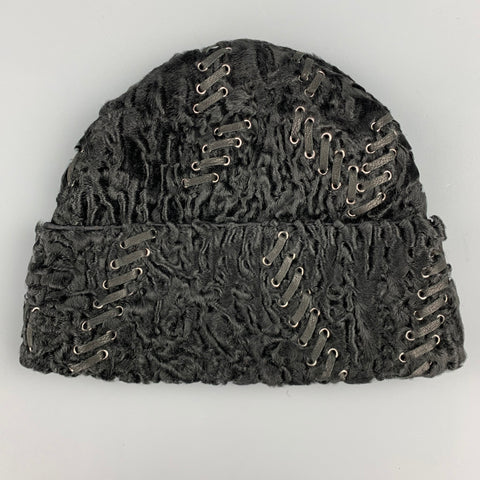PRADA Size M Black Textured Persian Lamb Fur Stitched Beanie