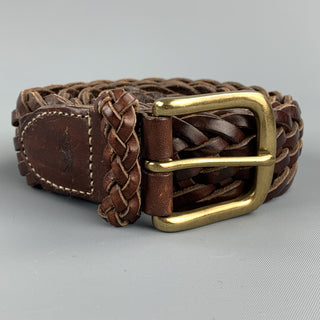 RALPH LAUREN Woven Size 38 Brown Leather Belt