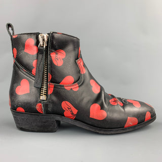GOLDEN GOOSE Viand Size 7.5 Black & Red Heart Print Leather Ankle Boots