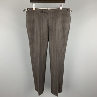 PRINGLE of SCOTLAND Size 36 Charcoal Stripe Wool Button Fly Dress Pants