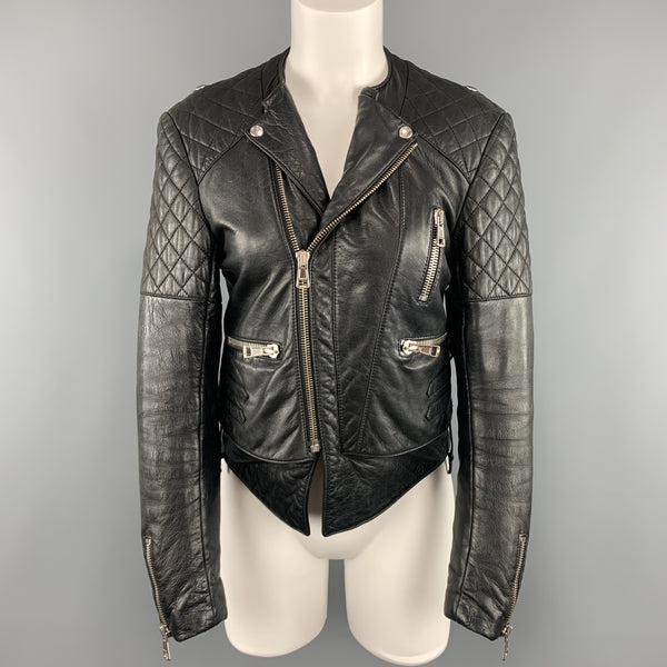 BALENCIAGA Size 8 Black Quilted Leather Biker Moto Jacket