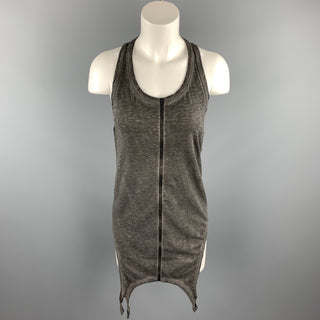 ISAAC SELLAM Size 0 Grey Distressed Cotton Leather Trim Tank Top