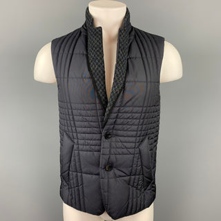 WOOYOUNGMI x Harris Tweed Size 36 Navy Quilted Nylon Notch Lapel Vest