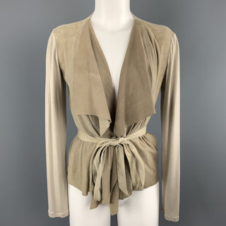 MAX MARA Size 4 Beige Suede Draped Collar Cardigan Jacket