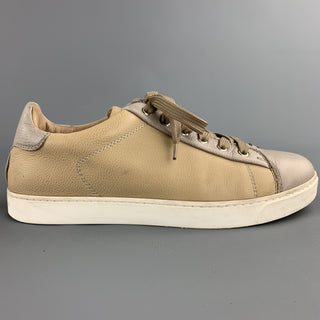 GIANVITO ROSSI Size 8 Taupe Leather Lace Up Sneakers