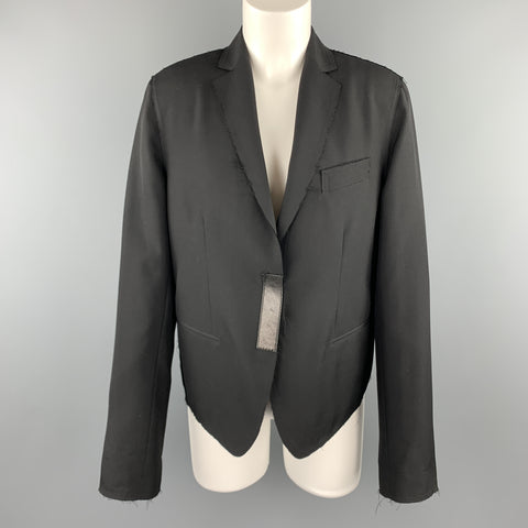 GUCCI by TOM FORD Size 8 Black Frayed Edge Wool Leather Trim Blazer