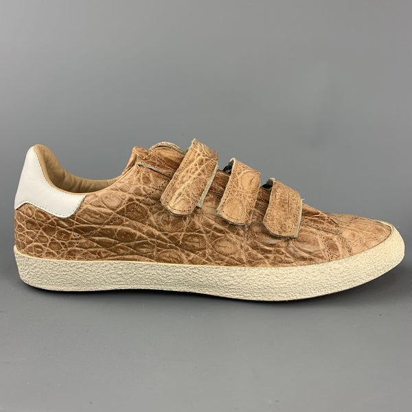 MAURO VOLPONI Size US 8.5 Tan Textured Velcro Closure Sneakers
