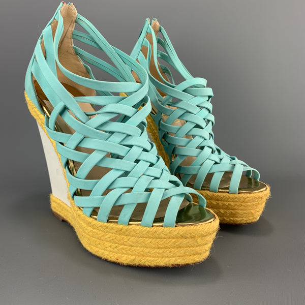 CHRISTIAN LOUBOUTIN 7 Turquoise Suede Woven Yellow Braided Platform Wedge Sandals
